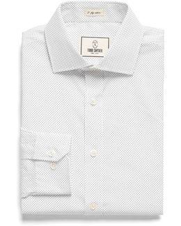 Spread Collar Dress Shirt In White Pindot
