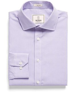 Spread Collar Dress Shirt In Lavender Plaid