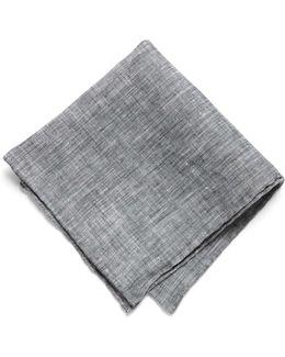 Pocket Square In Black Solid Linen