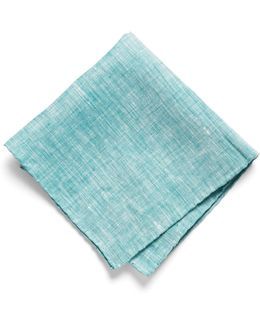 Pocket Square In Green Solid Linen