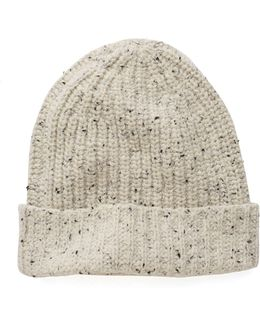 Ribbed Knit Hat In Beige