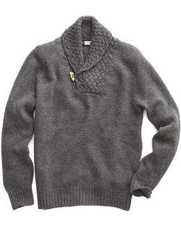 Shawl Collar Sweater In Heather Grey