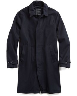 Tech Wool Topcoat In Navy