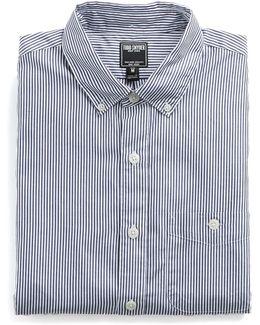 Button-down Collar Shirt In Navy Stripe