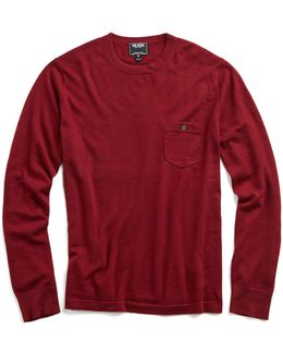 Cashmere T-shirt Sweater In Burgundy
