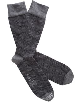 Cotton Cashmere Plaid Socks In Grey
