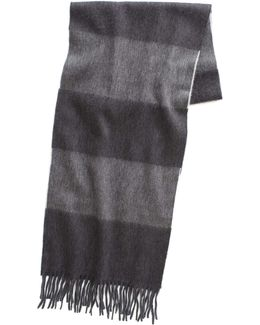 Large Stripe Scarf In Charcoal