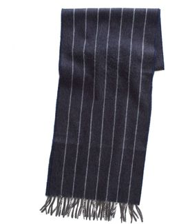 Chalk Stripe Scarf In Navy
