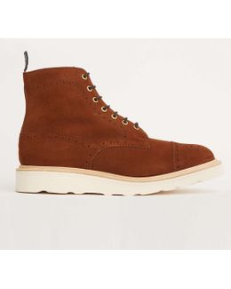 Limited Edition Suede Cap Toe Boot In Snuff Brown
