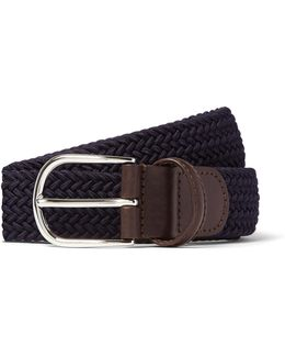 Leather Stretch Woven Belt In Navy