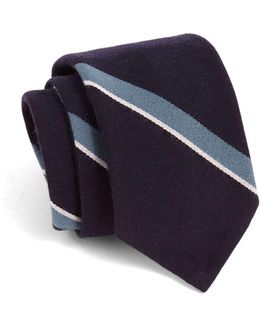 Hand-finished Wool Variegated Stripe Tie In Navy