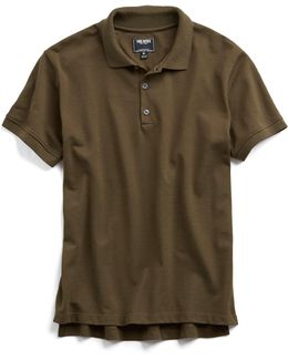 Cotton Piqué Polo In Olive
