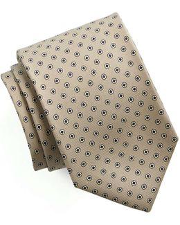 Silk Beige Foulard Tie
