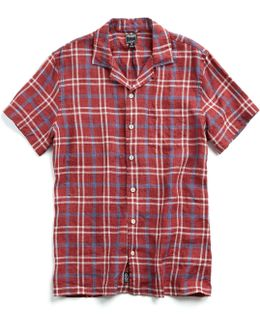 Short Sleeve Camp Collar Shirt In Red Plaid