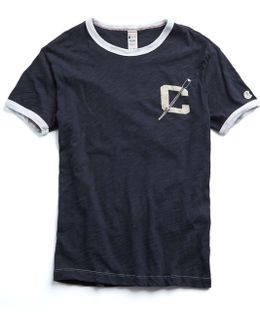 Ringer Graphic Tee In Navy