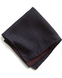 Italian Wool Pocket Square In Red Dot
