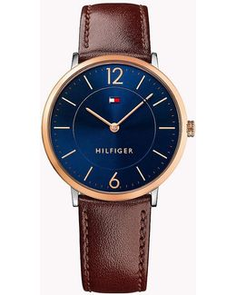 Men's Sophisticated Sport Brown Leather Strap Watch 40mm 1710354
