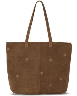 Toffee Suede Embroidered Cosmopolitan Tote