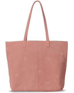 Dusty Rose Suede Embroidered Cosmopolitan Tote