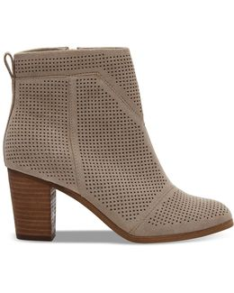 Desert Taupe Suede Perforated Women's Lunata Booties