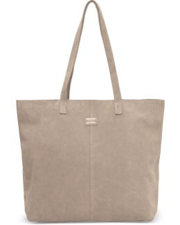 Taupe Suede Embroidered Cosmopolitan Tote