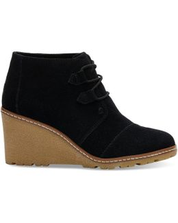 Black Suede With Faux Crepe Wedge Women's Desert Wedge Booties