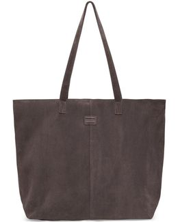 Charcoal Suede Embroidered Cosmopolitan Tote