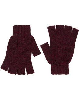 Burgundy Twist Fingerless Gloves