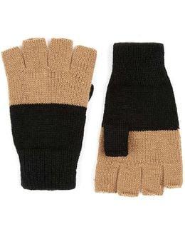 Black And Camel Colour Block Fingerless Gloves