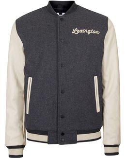 Charcoal Wool Blend Varsity Jacket