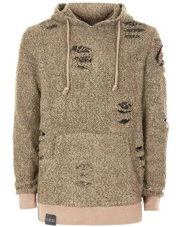 Sand And Black Distressed Wooly Hoodie*