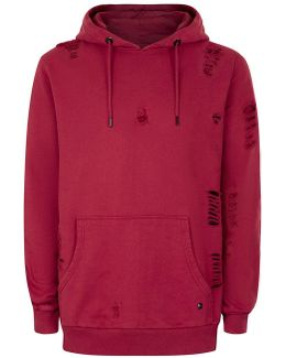 Red Distressed Longline Hoodie*