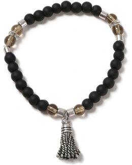 Black Beaded Tassel Stretch Bracelet*