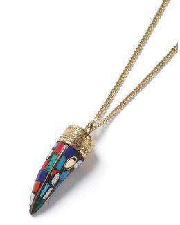 Multicoloured Mosaic Stone Tusk Necklace*