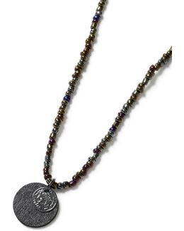 Petrol Beaded Disc Necklace*