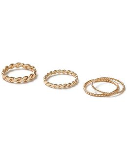 Gold Twisted Ring 4 Pack*