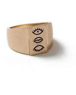 Gold Eye Signet Ring