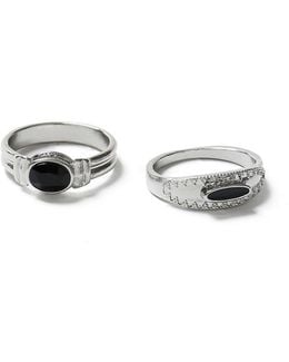 Silver Black Stone Ring Pack*