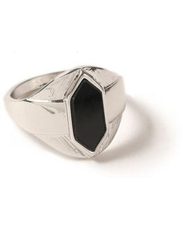 Silver Black Stone Ring
