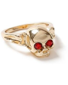 Gold And Red Skull Ring