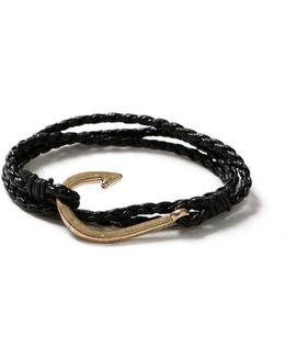 Black Leather Hook Bracelet