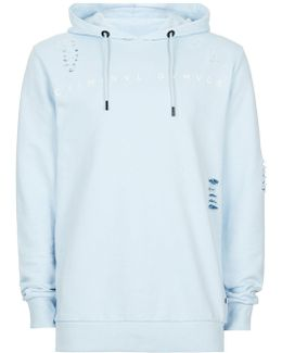 Light Blue Distressed Hoodie
