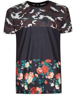 Black Camo Rose Panelled T-shirt