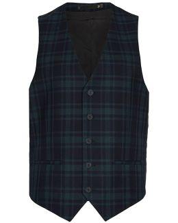 Farah Green Check Twill Waistcoat