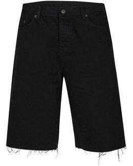 Aaa Black Raw Edge Long Length Shorts