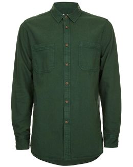 Forest Green Washed Twill Shirt