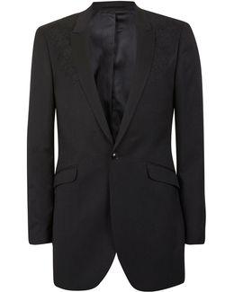 Black Embroidered Longline Skinny Fit Blazer