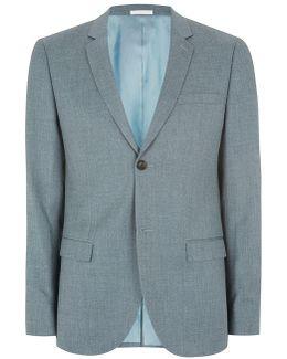 Green Crosshatch Skinny Suit Jacket