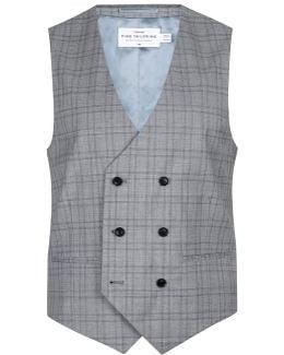 Charlie Casely-hayford X Light Gray Check Skinny Wedding Suit Vest