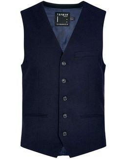 Navy Textured Ultra Skinny Fit Vest